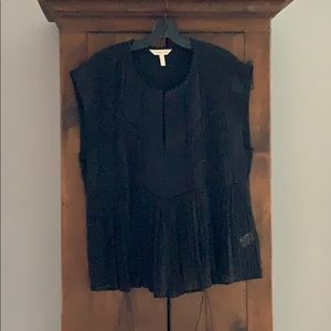 Black silk top with pleating detail